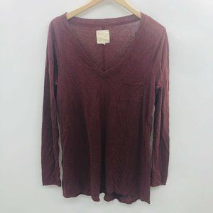 Chaser Small V Neck Tunic Top in Burgundy 759